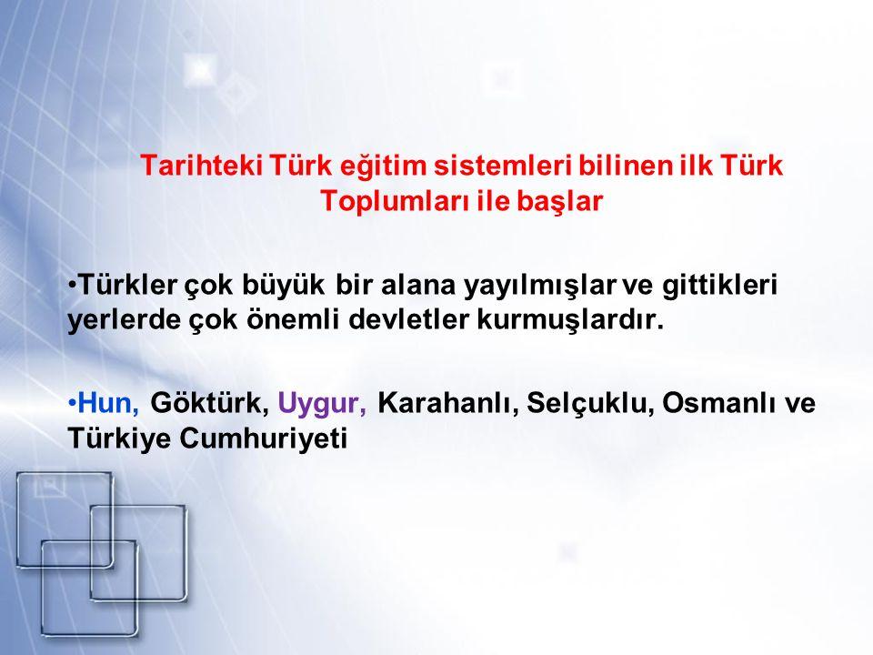Tarihteki Türk eğitim sistemleri bilinen ilk Türk Toplumları ile başlar