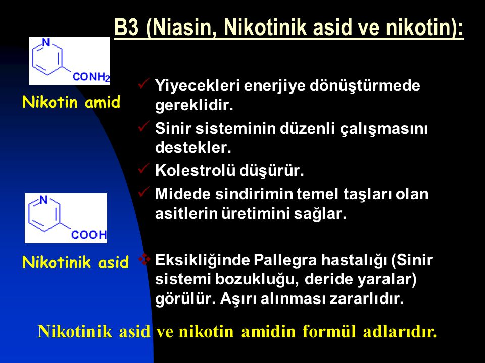 B3 (Niasin, Nikotinik asid ve nikotin):