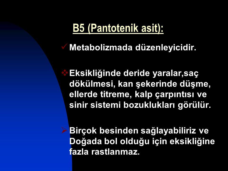 B5 (Pantotenik asit): Metabolizmada düzenleyicidir.