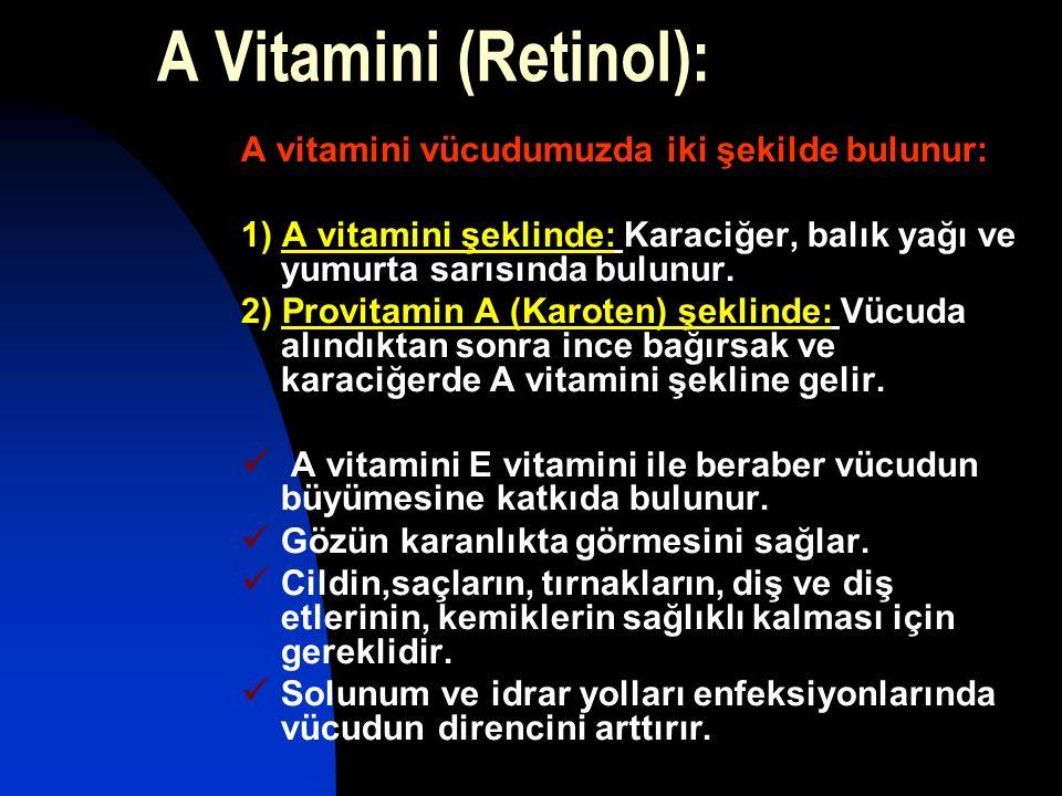 A Vitamini (Retinol): A vitamini vücudumuzda iki şekilde bulunur: