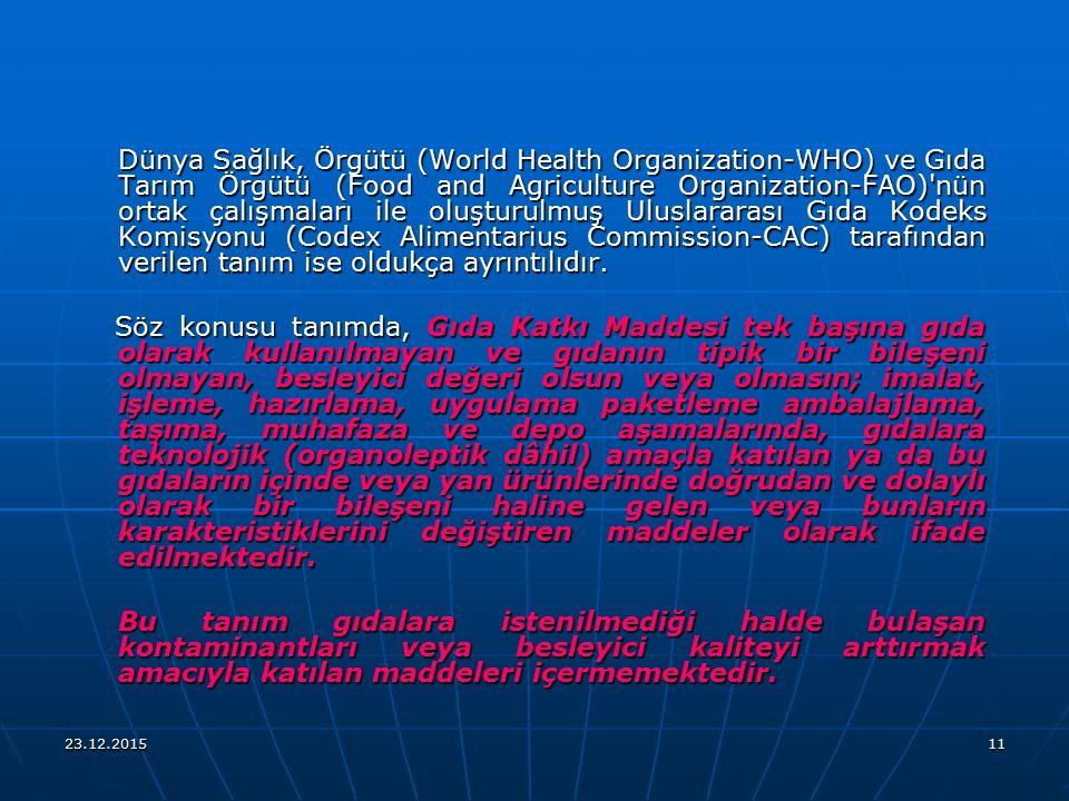 Dünya Sağlık, Örgütü (World Health Organization-WHO) ve Gıda Tarım Örgütü (Food and Agriculture Organization-FAO) nün ortak çalışmaları ile oluşturulmuş Uluslararası Gıda Kodeks Komisyonu (Codex Alimentarius Commission-CAC) tarafından verilen tanım ise oldukça ayrıntılıdır.