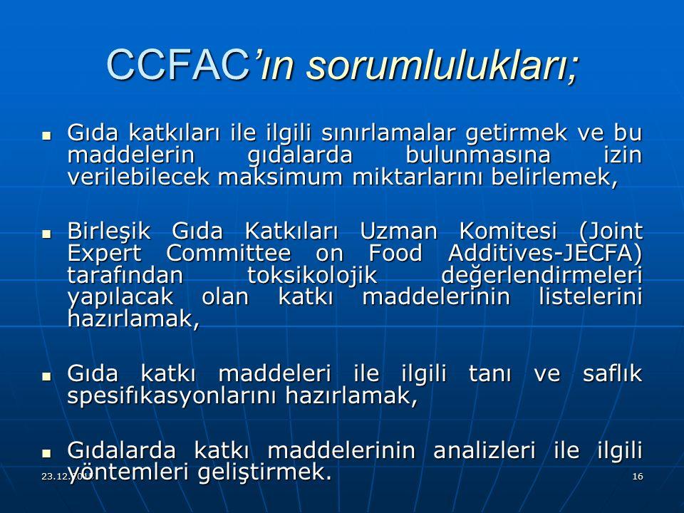 CCFAC'ın sorumlulukları;