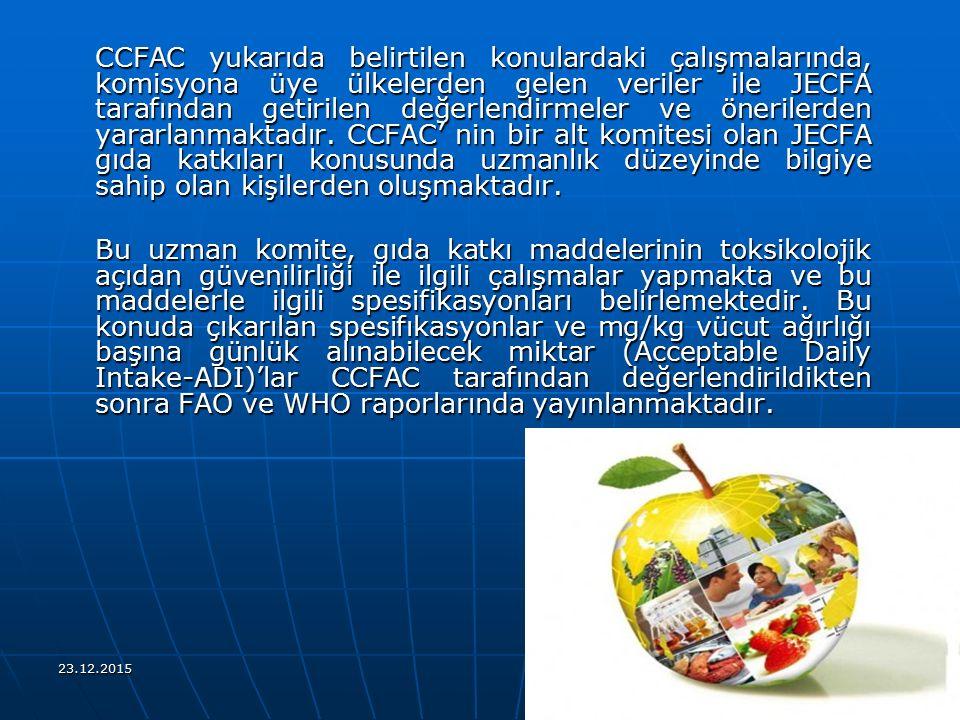 CCFAC yukarıda belirtilen konulardaki çalışmalarında, komisyona üye ülkelerden gelen veriler ile JECFA tarafından getirilen değerlendirmeler ve önerilerden yararlanmaktadır. CCFAC' nin bir alt komitesi olan JECFA gıda katkıları konusunda uzmanlık düzeyinde bilgiye sahip olan kişilerden oluşmaktadır.