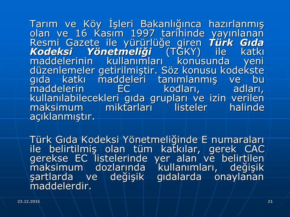 Tarım ve Köy İşleri Bakanlığınca hazırlanmış olan ve 16 Kasım 1997 tarihinde yayınlanan Resmi Gazete ile yürürlüğe giren Türk Gıda Kodeksi Yönetmeliği (TGKY) ile katkı maddelerinin kullanımları konusunda yeni düzenlemeler getirilmiştir. Söz konusu kodekste gıda katkı maddeleri tanımlanmış ve bu maddelerin EC kodları, adları, kullanılabilecekleri gıda grupları ve izin verilen maksimum miktarları listeler halinde açıklanmıştır.