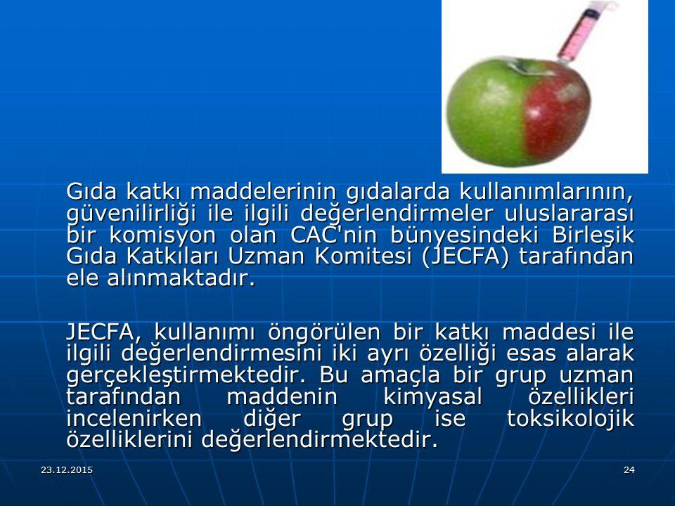 Gıda katkı maddelerinin gıdalarda kullanımlarının, güvenilirliği ile ilgili değerlendirmeler uluslararası bir komisyon olan CAC nin bünyesindeki Birleşik Gıda Katkıları Uzman Komitesi (JECFA) tarafından ele alınmaktadır.
