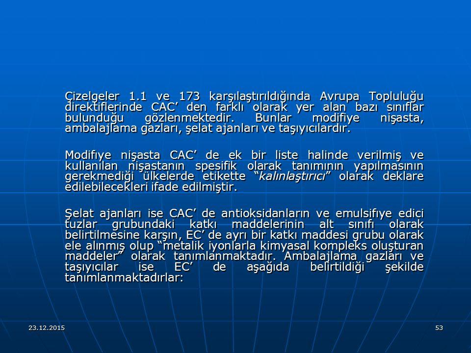 Çizelgeler 1.1 ve 173 karşılaştırıldığında Avrupa Topluluğu direktiflerinde CAC' den farklı olarak yer alan bazı sınıflar bulunduğu gözlenmektedir. Bunlar modifiye nişasta, ambalajlama gazları, şelat ajanları ve taşıyıcılardır.