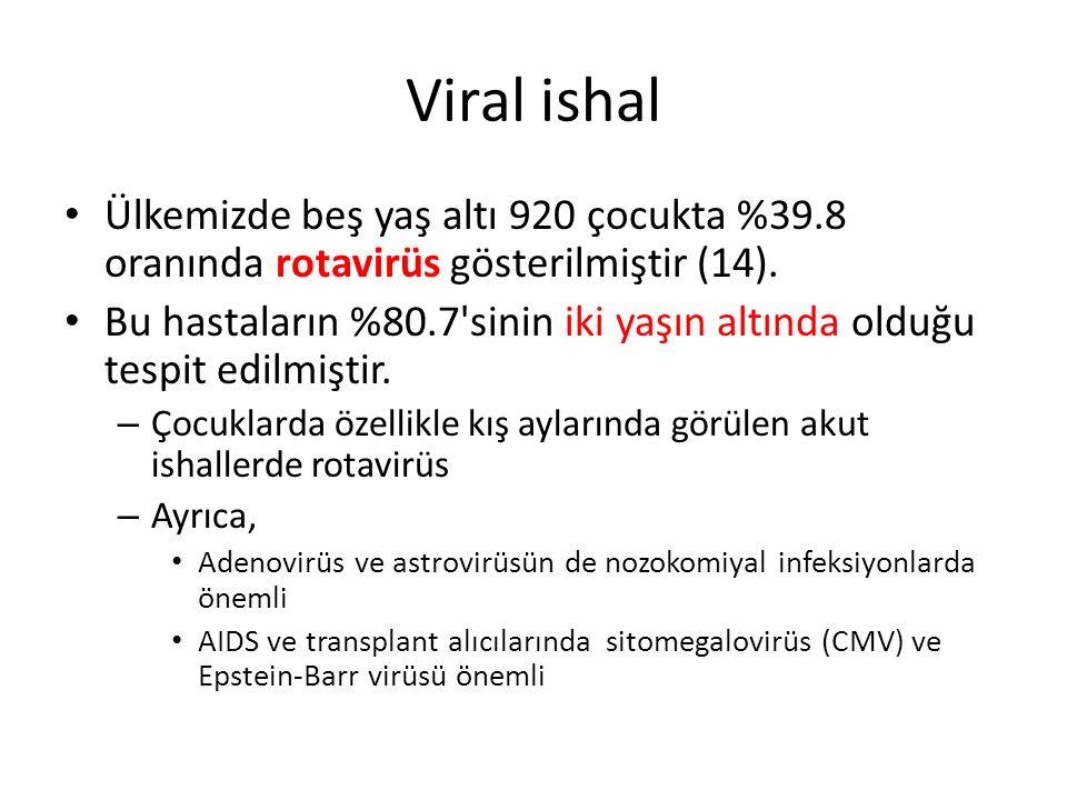 Viral ishal Ülkemizde beş yaş altı 920 çocukta %39.8 oranında rotavirüs gösterilmiştir (14).