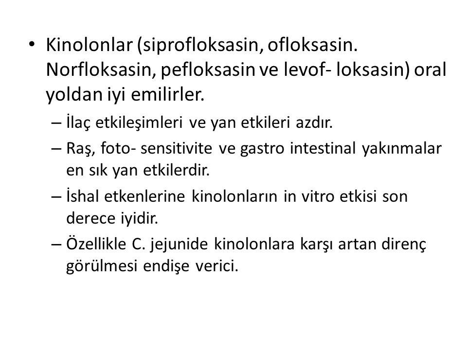 Kinolonlar (siprofloksasin, ofloksasin