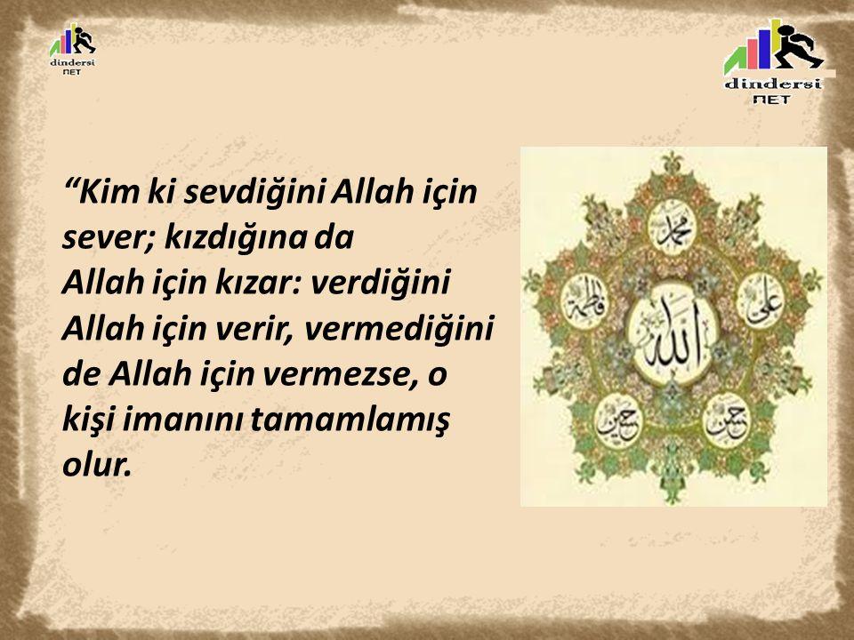 Kim ki sevdiğini Allah için sever; kızdığına da Allah için kızar: verdiğini Allah için verir, vermediğini de Allah için vermezse, o kişi imanını tamamlamış olur.