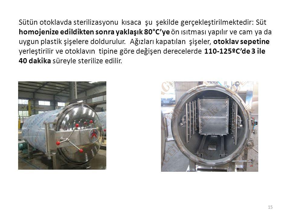 Sütün otoklavda sterilizasyonu kısaca şu şekilde gerçekleştirilmektedir: Süt homojenize edildikten sonra yaklaşık 80°C'ye ön ısıtması yapılır ve cam ya da uygun plastik şişelere doldurulur.
