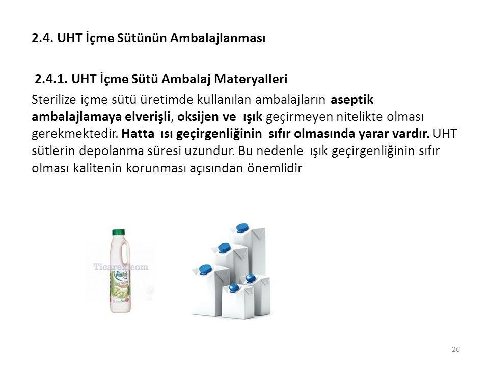 2.4. UHT İçme Sütünün Ambalajlanması