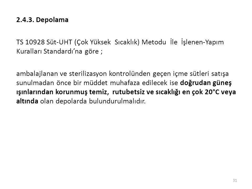 2.4.3. Depolama TS 10928 Süt-UHT (Çok Yüksek Sıcaklık) Metodu İle İşlenen-Yapım Kuralları Standardı'na göre ;