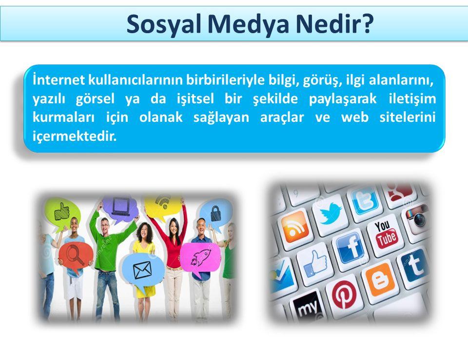 Sosyal Medya Nedir İnternet kullanıcılarının birbirileriyle bilgi, görüş, ilgi alanlarını,