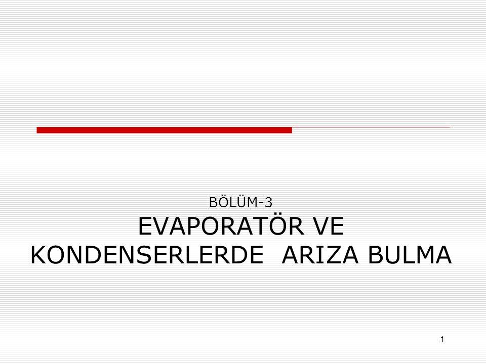 BÖLÜM-3 EVAPORATÖR VE KONDENSERLERDE ARIZA BULMA