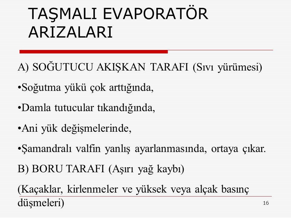 TAŞMALI EVAPORATÖR ARIZALARI