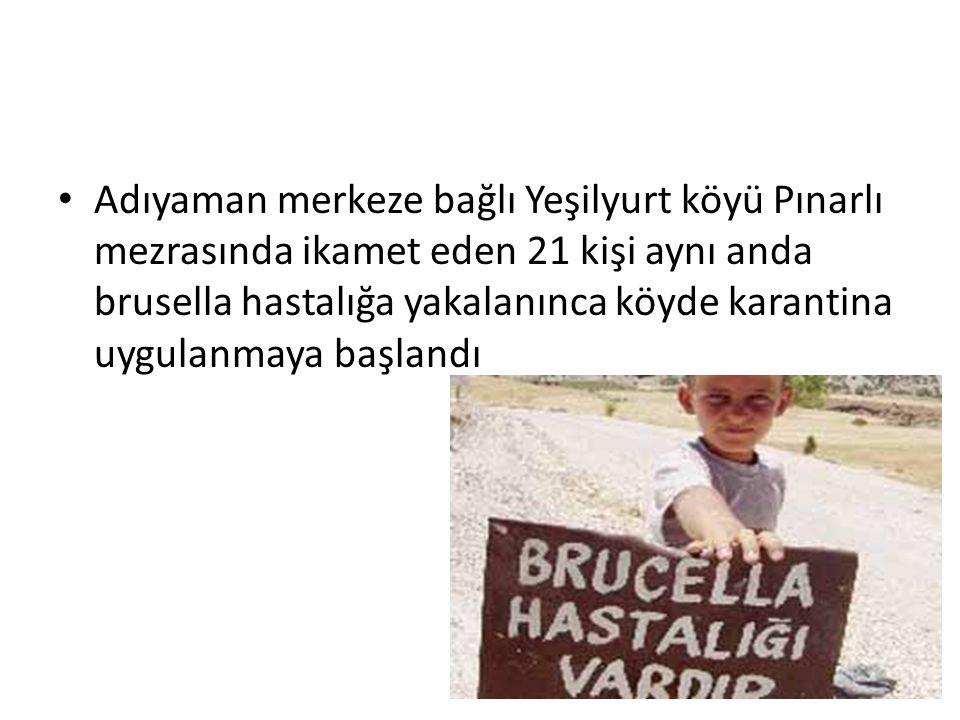 Adıyaman merkeze bağlı Yeşilyurt köyü Pınarlı mezrasında ikamet eden 21 kişi aynı anda brusella hastalığa yakalanınca köyde karantina uygulanmaya başlandı