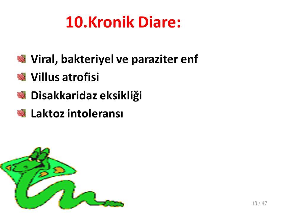 10.Kronik Diare: Viral, bakteriyel ve paraziter enf Villus atrofisi