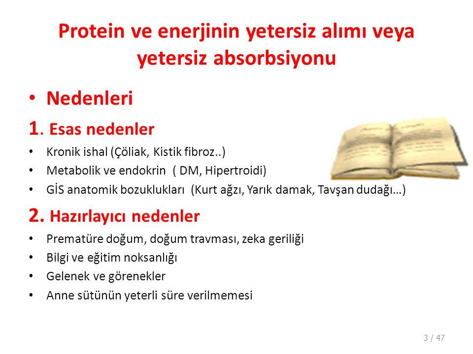 Protein ve enerjinin yetersiz alımı veya yetersiz absorbsiyonu