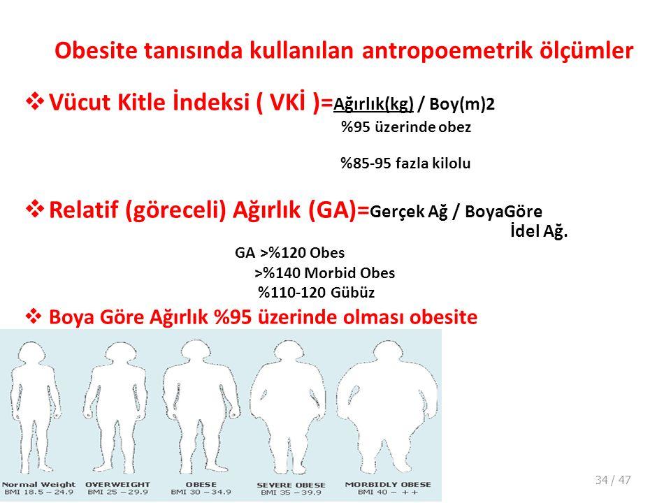 Obesite tanısında kullanılan antropoemetrik ölçümler