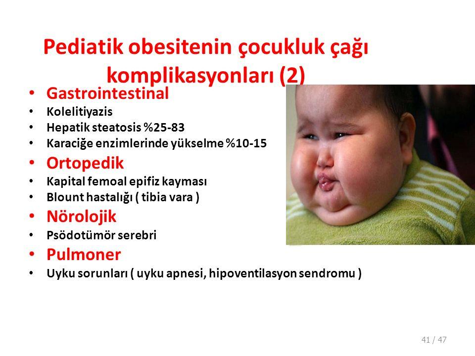 Pediatik obesitenin çocukluk çağı komplikasyonları (2)