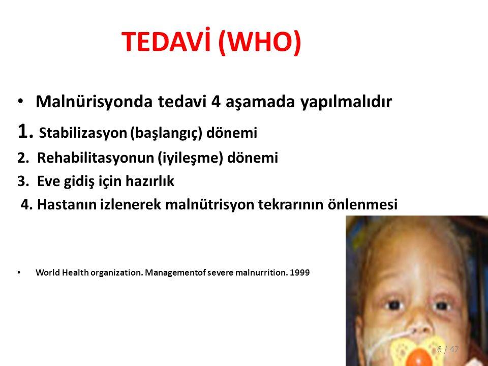 TEDAVİ (WHO) 1. Stabilizasyon (başlangıç) dönemi