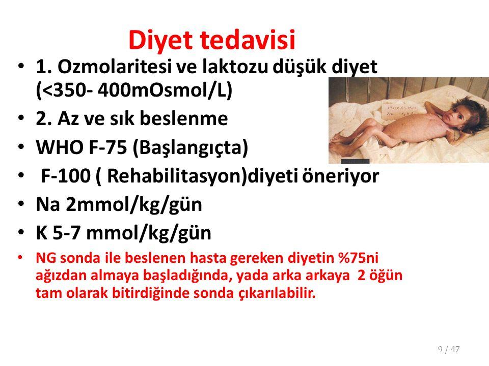 Diyet tedavisi 1. Ozmolaritesi ve laktozu düşük diyet (<350- 400mOsmol/L) 2. Az ve sık beslenme. WHO F-75 (Başlangıçta)