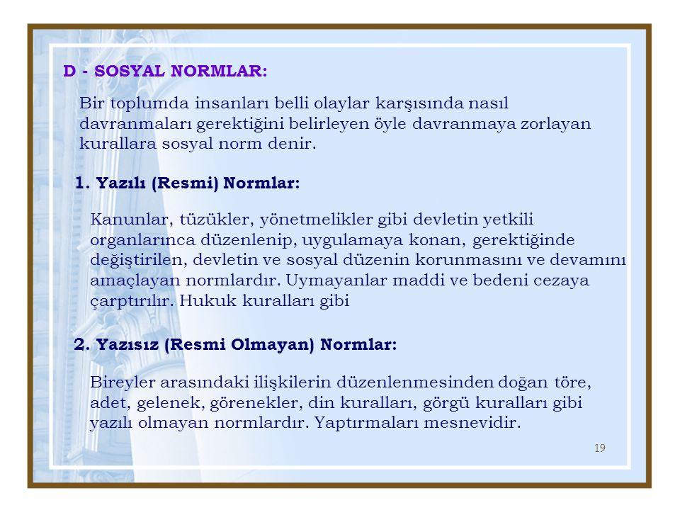 D - SOSYAL NORMLAR: