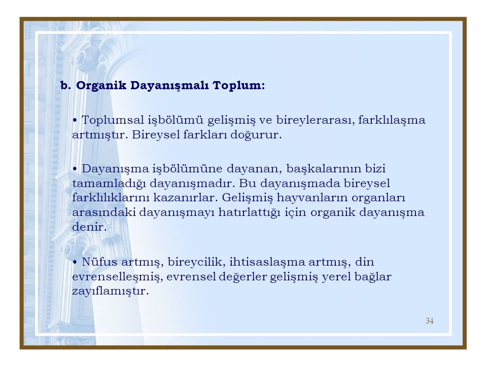 b. Organik Dayanışmalı Toplum: