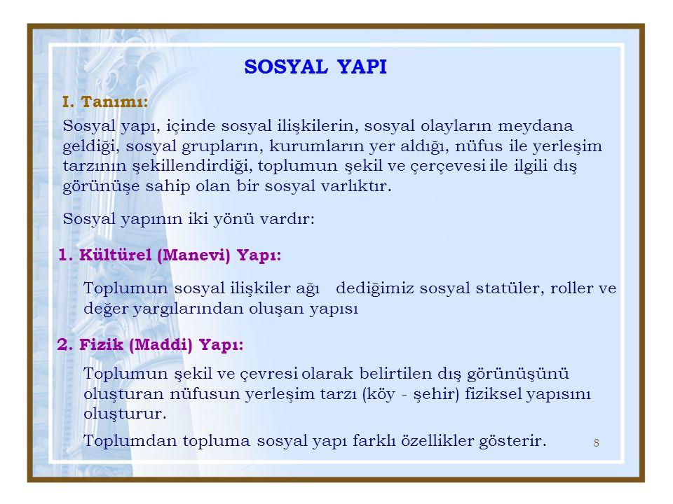 SOSYAL YAPI I. Tanımı: