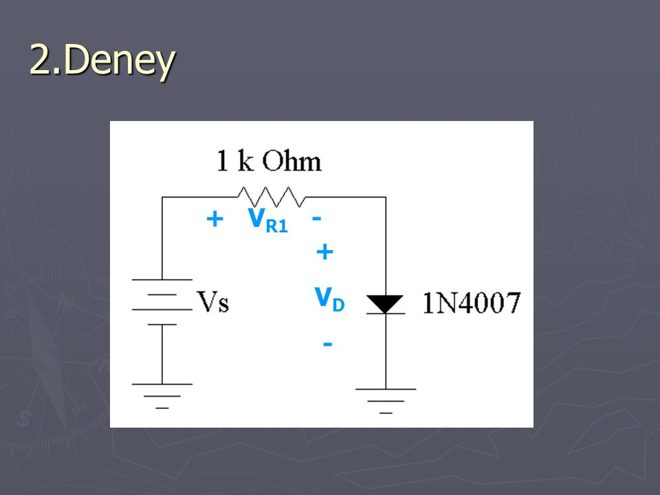 2.Deney + VR1 - + VD -