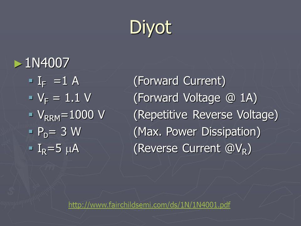 Diyot 1N4007 IF =1 A (Forward Current)