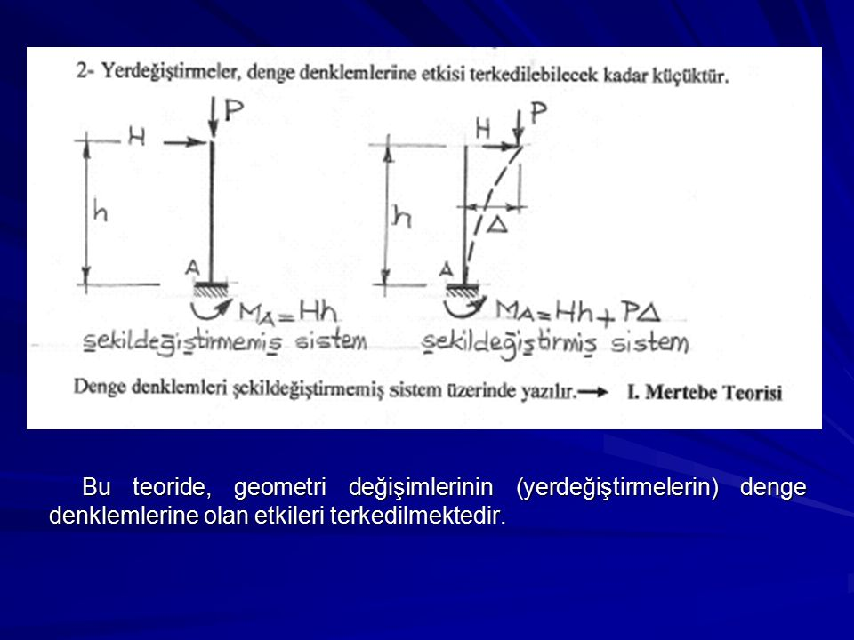 Bu teoride, geometri değişimlerinin (yerdeğiştirmelerin) denge denklemlerine olan etkileri terkedilmektedir.