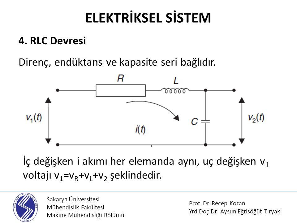 ELEKTRİKSEL SİSTEM 4. RLC Devresi Direnç, endüktans ve kapasite seri bağlıdır.