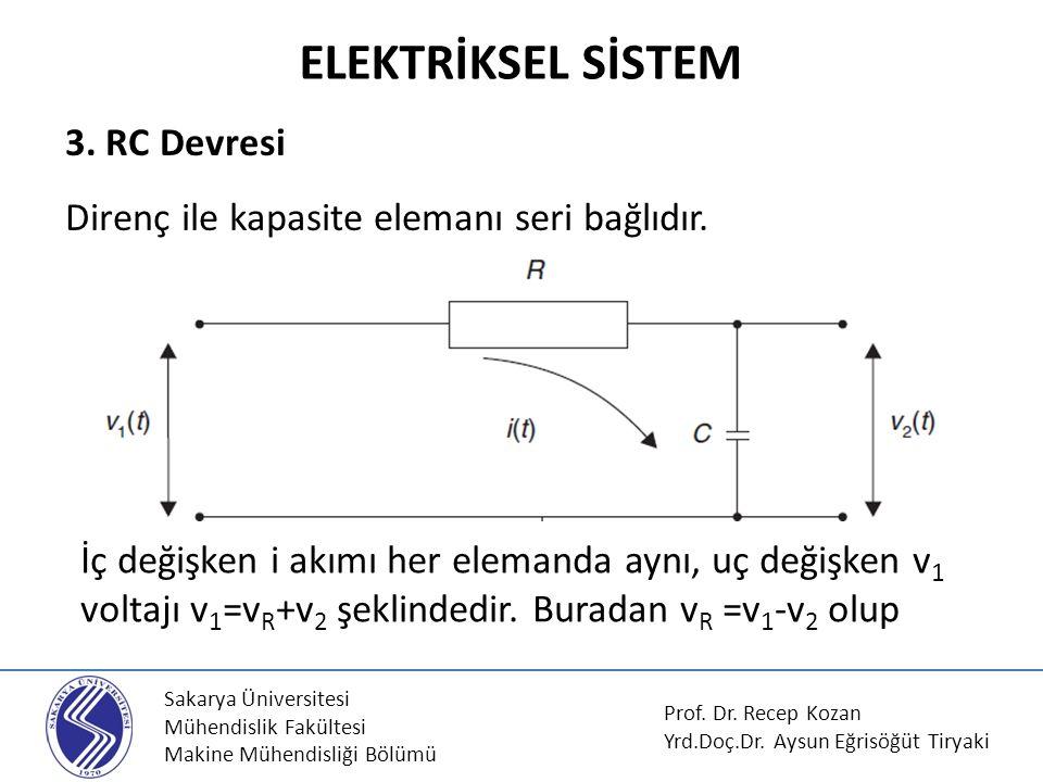 ELEKTRİKSEL SİSTEM 3. RC Devresi Direnç ile kapasite elemanı seri bağlıdır.
