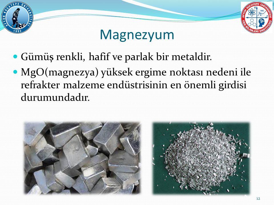Magnezyum Gümüş renkli, hafif ve parlak bir metaldir.