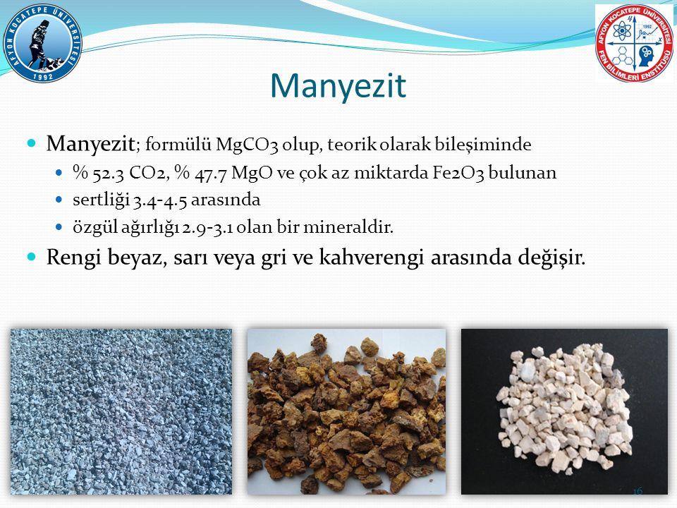 Manyezit Manyezit; formülü MgCO3 olup, teorik olarak bileşiminde