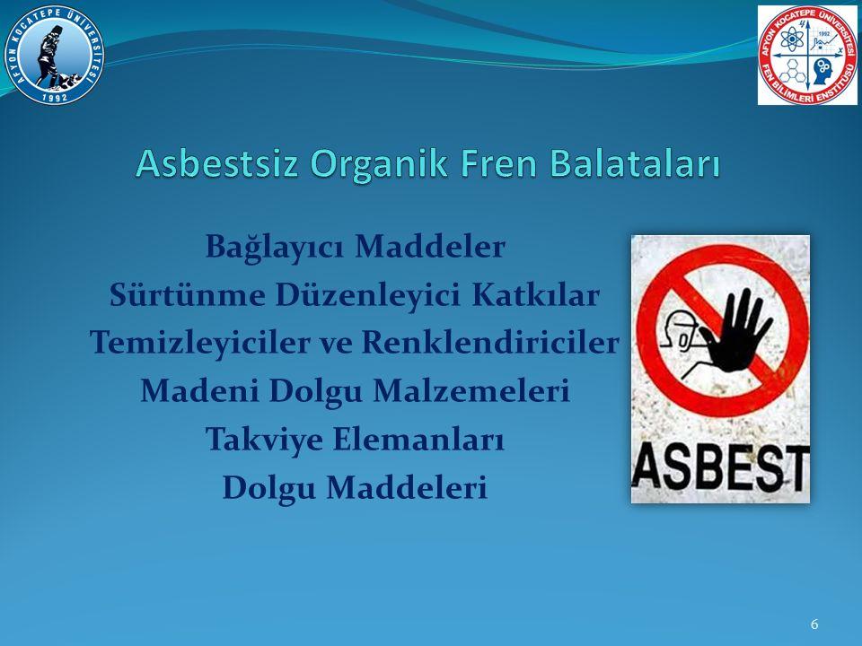 Asbestsiz Organik Fren Balataları