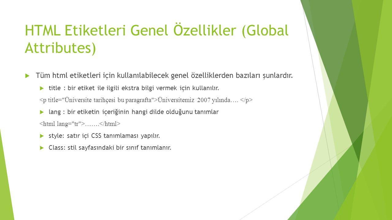 HTML Etiketleri Genel Özellikler (Global Attributes)
