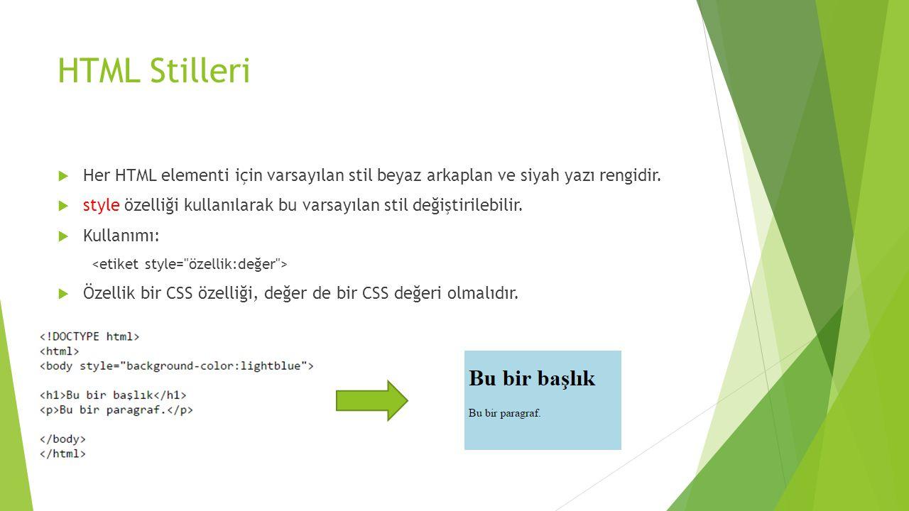 HTML Stilleri Her HTML elementi için varsayılan stil beyaz arkaplan ve siyah yazı rengidir.