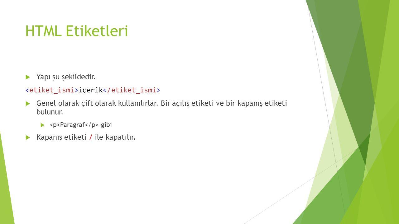 HTML Etiketleri Yapı şu şekildedir.