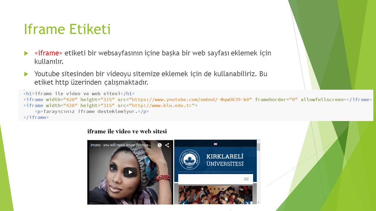Iframe Etiketi <iframe> etiketi bir websayfasının içine başka bir web sayfası eklemek için kullanılır.