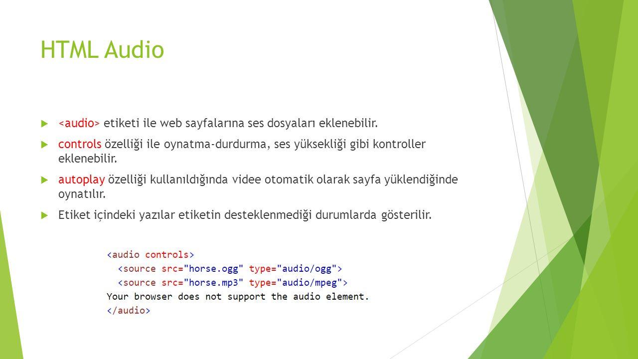 HTML Audio <audio> etiketi ile web sayfalarına ses dosyaları eklenebilir.