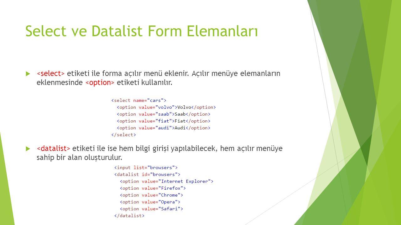 Select ve Datalist Form Elemanları