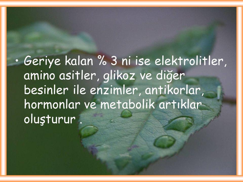 Geriye kalan % 3 ni ise elektrolitler, amino asitler, glikoz ve diğer besinler ile enzimler, antikorlar, hormonlar ve metabolik artıklar oluşturur .