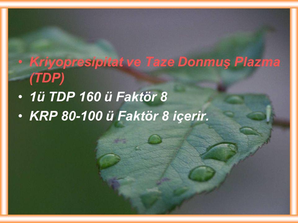 Kriyopresipitat ve Taze Donmuş Plazma (TDP)