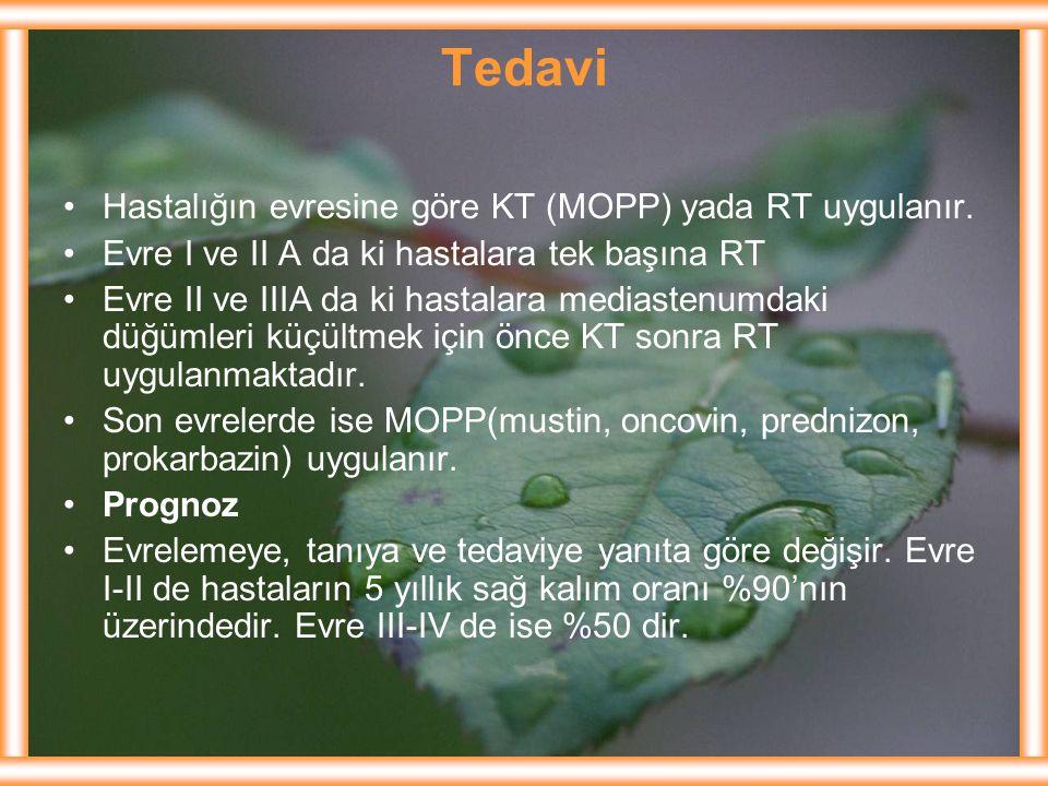 Tedavi Hastalığın evresine göre KT (MOPP) yada RT uygulanır.