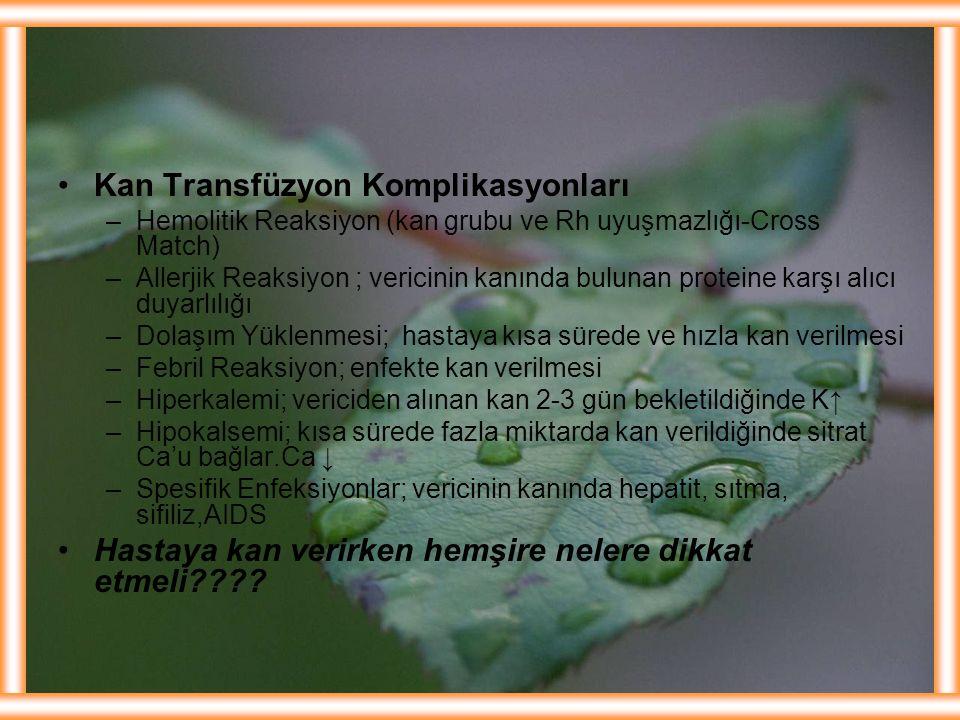 Kan Transfüzyon Komplikasyonları