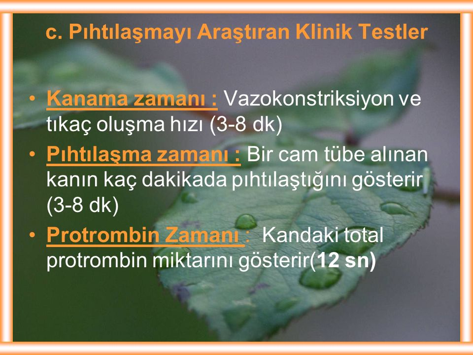 c. Pıhtılaşmayı Araştıran Klinik Testler