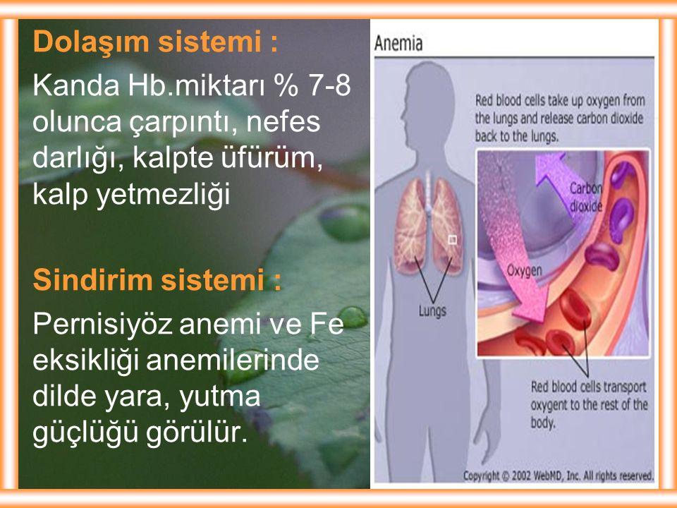 Dolaşım sistemi : Kanda Hb.miktarı % 7-8 olunca çarpıntı, nefes darlığı, kalpte üfürüm, kalp yetmezliği.