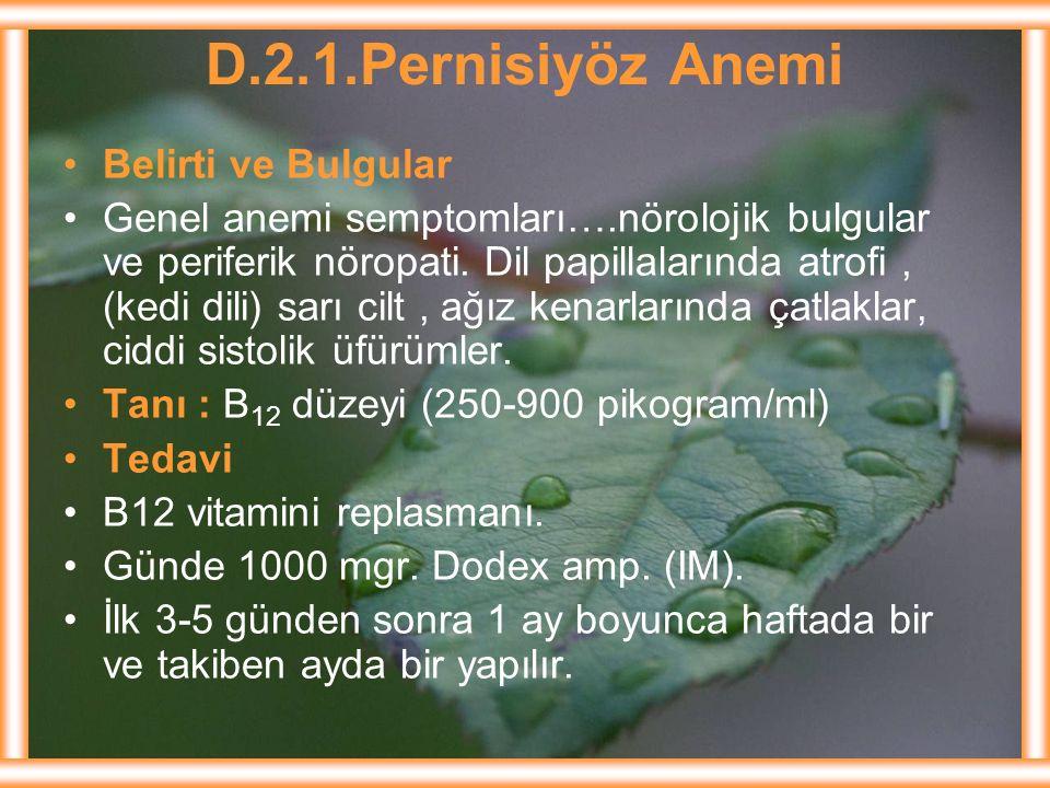 D.2.1.Pernisiyöz Anemi Belirti ve Bulgular